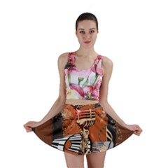 Microphone With Piano And Floral Elements Mini Skirts