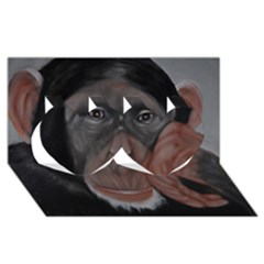 The Thinker Twin Hearts 3d Greeting Card (8x4)  by timelessartoncanvas