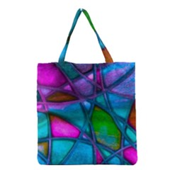 Imposant Abstract Teal Grocery Tote Bags by ImpressiveMoments