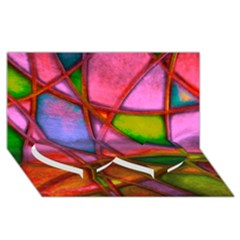 Imposant Abstract Red Twin Heart Bottom 3d Greeting Card (8x4)  by ImpressiveMoments