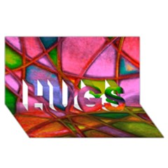 Imposant Abstract Red Hugs 3d Greeting Card (8x4)