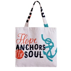 Hope Anchors The Soul Nautical Quote Zipper Grocery Tote Bags by CraftyLittleNodes