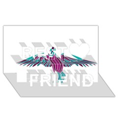 Stained Glass Bird Illustration  Best Friends 3d Greeting Card (8x4)
