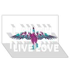 Stained Glass Bird Illustration  Laugh Live Love 3d Greeting Card (8x4)  by carocollins