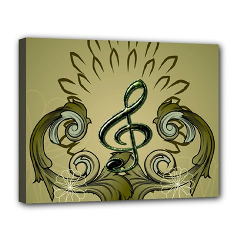 Decorative Clef With Damask In Soft Green Canvas 14  X 11  by FantasyWorld7