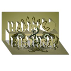 Decorative Clef With Damask In Soft Green Happy Birthday 3d Greeting Card (8x4)  by FantasyWorld7