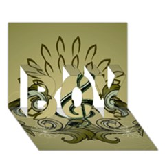Decorative Clef With Damask In Soft Green Boy 3d Greeting Card (7x5)