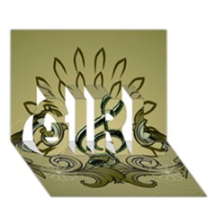 Decorative Clef With Damask In Soft Green Girl 3d Greeting Card (7x5)  by FantasyWorld7