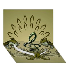Decorative Clef With Damask In Soft Green Heart Bottom 3d Greeting Card (7x5)