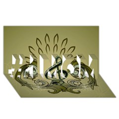 Decorative Clef With Damask In Soft Green #1 Mom 3d Greeting Cards (8x4)