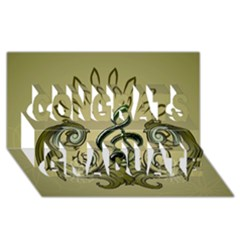 Decorative Clef With Damask In Soft Green Congrats Graduate 3d Greeting Card (8x4)  by FantasyWorld7