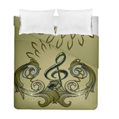 Decorative Clef With Damask In Soft Green Duvet Cover (twin Size) by FantasyWorld7