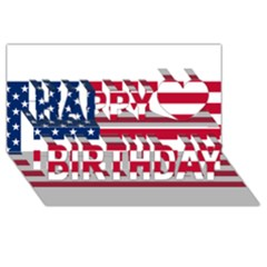 Usa1 Happy Birthday 3D Greeting Card (8x4)