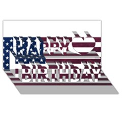 Usa4 Happy Birthday 3d Greeting Card (8x4)