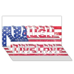 Usa8 Laugh Live Love 3d Greeting Card (8x4)
