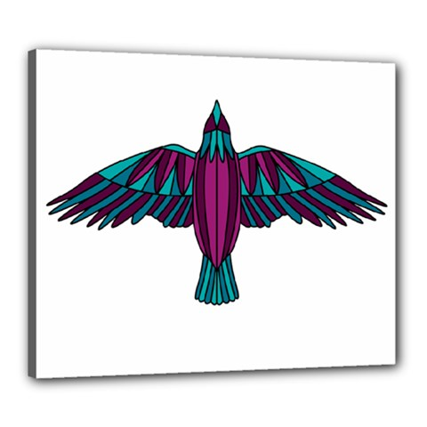 Stained Glass Bird Illustration  Canvas 24  X 20  by carocollins