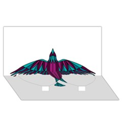 Stained Glass Bird Illustration  Twin Heart Bottom 3d Greeting Card (8x4)