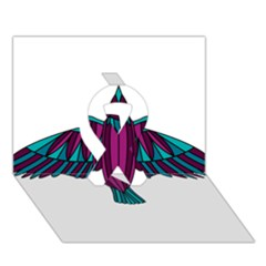 Stained Glass Bird Illustration  Ribbon 3d Greeting Card (7x5)