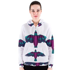 Stained Glass Bird Illustration  Women s Zipper Hoodies by carocollins