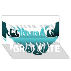 Fox Logo Blue Gradient Congrats Graduate 3d Greeting Card (8x4)  by carocollins