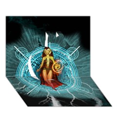 Beautiful Witch With Magical Background Apple 3d Greeting Card (7x5)