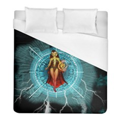 Beautiful Witch With Magical Background Duvet Cover Single Side (twin Size) by FantasyWorld7