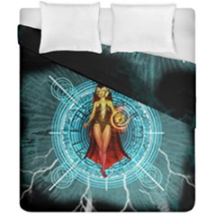Beautiful Witch With Magical Background Duvet Cover (double Size) by FantasyWorld7