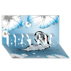 Wonderful Swan Made Of Floral Elements Best Sis 3d Greeting Card (8x4)