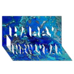 Cocos Blue Lagoon Happy New Year 3d Greeting Card (8x4)