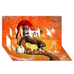 Funny Cute Christmas Giraffe With Christmas Hat Merry Xmas 3d Greeting Card (8x4)  by FantasyWorld7