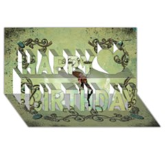 Cute Elf Playing For Christmas Happy Birthday 3D Greeting Card (8x4)  by FantasyWorld7