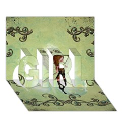 Cute Elf Playing For Christmas Girl 3d Greeting Card (7x5)
