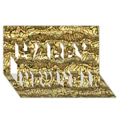 Alien Skin Hot Golden Happy New Year 3d Greeting Card (8x4)