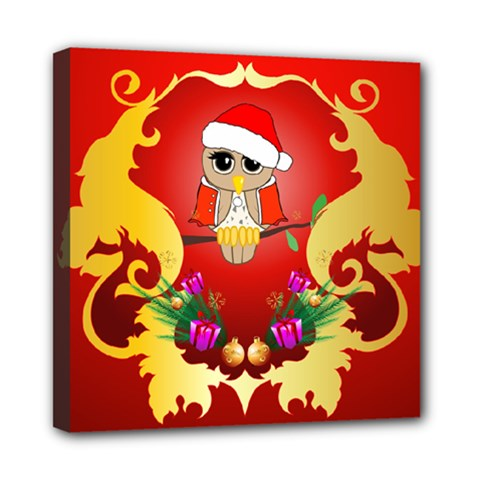 Funny, Cute Christmas Owl  With Christmas Hat Mini Canvas 8  X 8  by FantasyWorld7