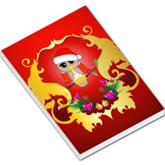 Funny, Cute Christmas Owl  With Christmas Hat Large Memo Pads