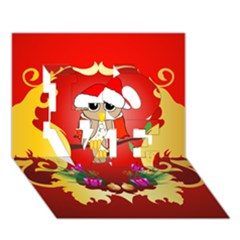 Funny, Cute Christmas Owl  With Christmas Hat Love 3d Greeting Card (7x5)