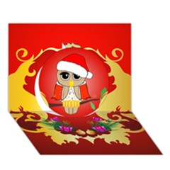Funny, Cute Christmas Owl  With Christmas Hat Circle 3d Greeting Card (7x5)  by FantasyWorld7