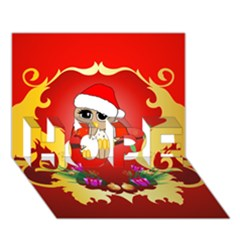 Funny, Cute Christmas Owl  With Christmas Hat Hope 3d Greeting Card (7x5)