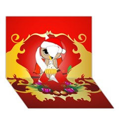 Funny, Cute Christmas Owl  With Christmas Hat Ribbon 3d Greeting Card (7x5)