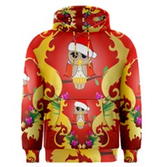 Funny, Cute Christmas Owl  With Christmas Hat Men s Pullover Hoodies