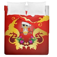 Funny, Cute Christmas Owl  With Christmas Hat Duvet Cover (full/queen Size) by FantasyWorld7