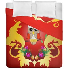 Funny, Cute Christmas Owl  With Christmas Hat Duvet Cover (Double Size) by FantasyWorld7