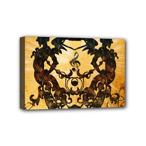 Clef With Awesome Figurative And Floral Elements Mini Canvas 6  X 4  by FantasyWorld7