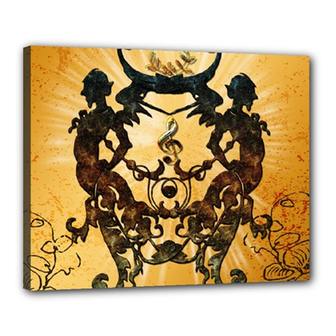 Clef With Awesome Figurative And Floral Elements Canvas 20  X 16  by FantasyWorld7
