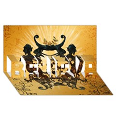 Clef With Awesome Figurative And Floral Elements Believe 3d Greeting Card (8x4)  by FantasyWorld7