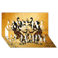 Clef With Awesome Figurative And Floral Elements Congrats Graduate 3d Greeting Card (8x4)  by FantasyWorld7
