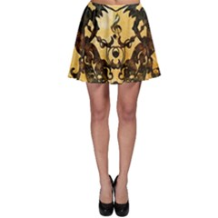 Clef With Awesome Figurative And Floral Elements Skater Skirts by FantasyWorld7