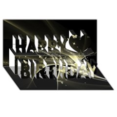 Awesome Glowing Lines With Beautiful Butterflies On Black Background Happy Birthday 3d Greeting Card (8x4)