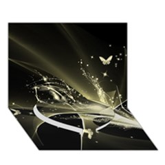 Awesome Glowing Lines With Beautiful Butterflies On Black Background Heart Bottom 3d Greeting Card (7x5)  by FantasyWorld7