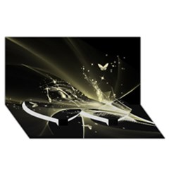 Awesome Glowing Lines With Beautiful Butterflies On Black Background Twin Heart Bottom 3d Greeting Card (8x4)